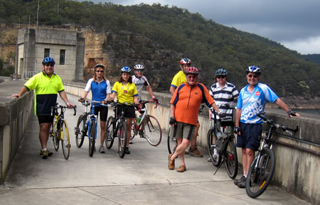 Cycling across Nepean Dam